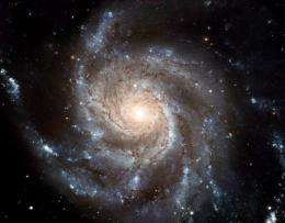 An image of a gigantic galaxy, seen through the Hubble Space Telescope