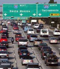 Cars congest the 10 Highway in Los Angeles