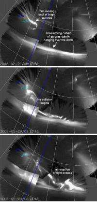 Colliding auroras produce an explosion of light