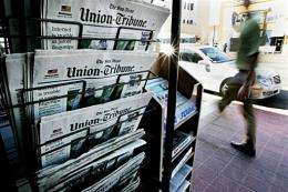 Copies of the San Diego Union-Tribune are shown on display at a newsstand in San Diego, California, in March