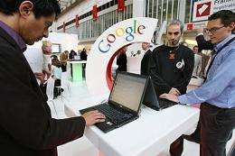 Fair-goers check out the Google stand at the Frankfurt Book Fair