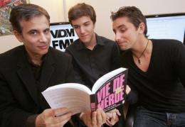 (From L) Didier Guedj, 49, Maxime Valette, 20, and Guillaume Passaglia