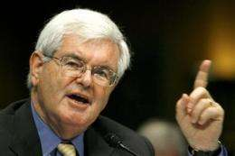 Gingrich says climate bill will punish Americans (AP)