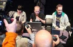 Gottfrid Svartholm Varg(C) and Peter Sundin(R) from The Pirate Bay