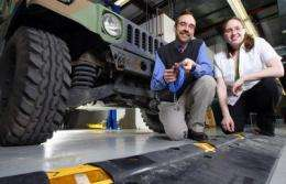 High-tech speed bump detects damage to army vehicles