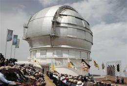 Huge telescope opens in Spain's Canary Islands (AP)