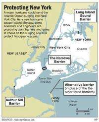 Hurricane barriers floated to keep sea out of NYC (AP)