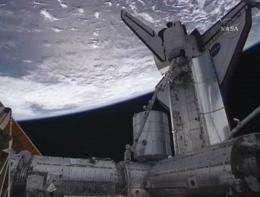 Image from NASA video shows the International Space Station above the South Pacific