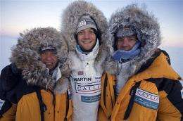 L-R: Ann Daniels, navigator, Martin Hartley, expedition photographer, and Pen Hadow, expedition leader