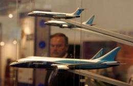 Models of Boeings Dreamliner aircraft