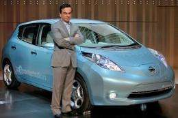 Nissan rolls out electric car at new headquarters (AP)