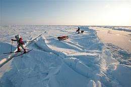 On their trip, Pen Hadow (R) and Ann Daniels found the average thickness of the ice floes was 1.8 metres