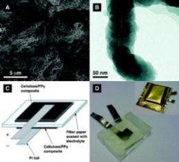 Paper battery may power electronics in clothing and packaging material