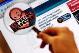 Picture shows a student viewing the logo of the German website