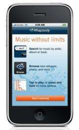 Rhapsody streaming app approved for iPhones (AP)