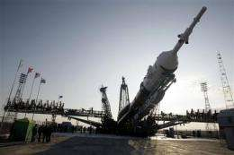Rocket readied at Kazakh steppe for ISS mission (AP)