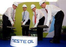 Singapore and Neste Oil officials break ground on the world's biggest renewable diesel plant