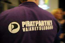Sweden's Pirate Party supporter wears a T-shirt with the party's logo