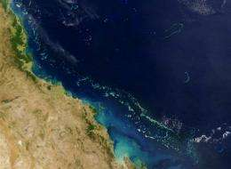 The Great Barrier Reef off Australia's eastern coast