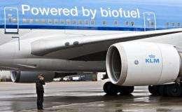 The KLM airplane which runs on biokerosene is seen at Schiphol airport, near Amsterdam