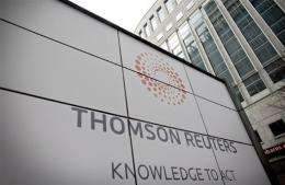 Thomson Reuters said operating profit rose two percent in the first quarter of the year