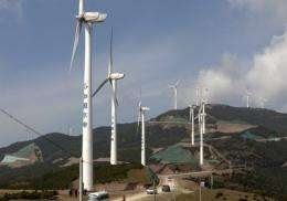 Wind power turbines in Dali, in China's southwestern Yunnan province