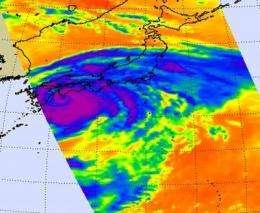 NASA satellites show heavy rainfall at southeastern coast of Japan