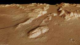 Mountains and buried ice on Mars