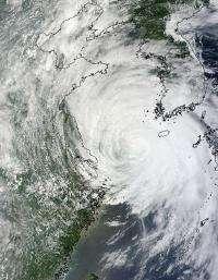 NASA satellites see Tropical Storm Muifa taking up the Yellow Sea
