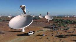 An artist's impression shows dishes of the future Square Kilometre Array (SKA) radio telescope