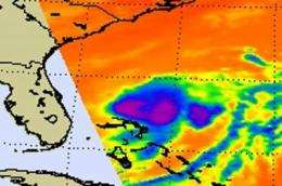 NASA's infrared satellite data shows warming cloud tops in Tropical Storm Bret
