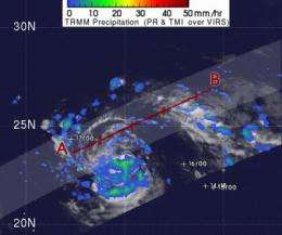NASA's TRMM satellite sees moderate rainfall Tropical Storm Sonca