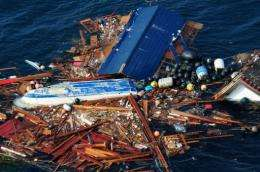 An aerial view of debris on March 13, 2011 from Japan's 8.9 magnitude earthquake and subsequent tsunami