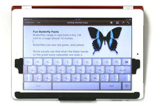 A device attempts to elevate the iPad's keyboard
