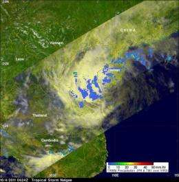 A eyes light rainfall in dissipating tropical depression Nalgae