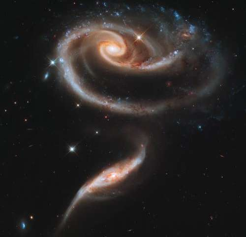 A galactic rose highlights Hubble's 21st anniversary