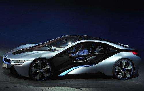 An i8 electric car by German car maker BMW Group is presented in Frankfurt