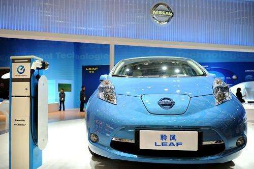 A Nissan Leaf electric car is displayed at the Shanghai Auto Show