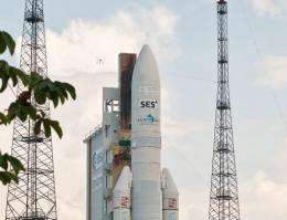 A picture taken on September 19, and released by ARIANESPACE shows the Ariane-5 at Kourou