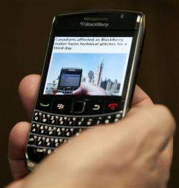BlackBerry blackout is new threat to brand (AP)