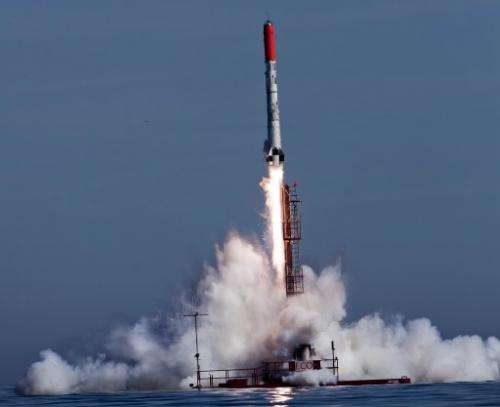 Danish amateur rocket, Heat-1X Tycho Brahe, a MSC (micro spacecraft), launches in the Baltic Sea east of Bornholm