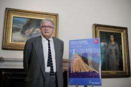 David Hockney poses for photographers during the press view of his forthcoming exhibition