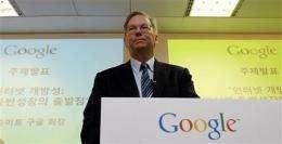 Eric Schmidt defends Google, mourns Jobs' death (AP)
