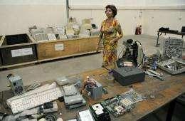 EU digital agenda commissioner Neelie Kroes visits a a computer waste management center