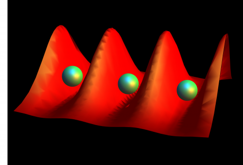 Flipping an egg carton of light traps giant atoms