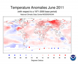 Global temperatures were seventh warmest on record for June