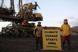 Greenpeace occupy a coal mine this week in northen Bohemia in the Czech Republic
