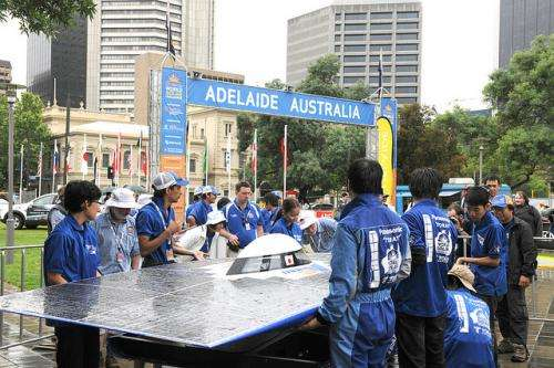 Japanese Team Tokai wins the 3,021 km 2011 Veolia World Solar Challenge