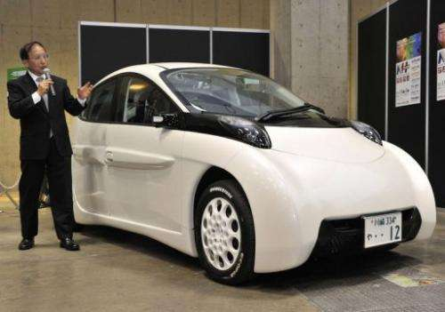 Japan's auto venture SIM-DRIVE's prototype model of the electric vehicle SIM-LEI is unveiled