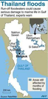 Map showing the Thai areas still affected by months of flooding